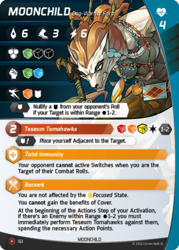 Aristeia - Moonchild Dog-Warrior - Character Card
